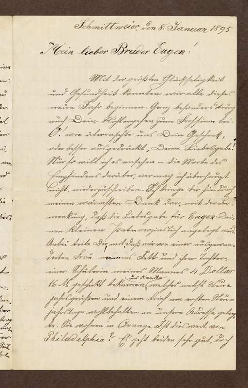 Amalia Haas to Eugen Klee, January 8, 1895