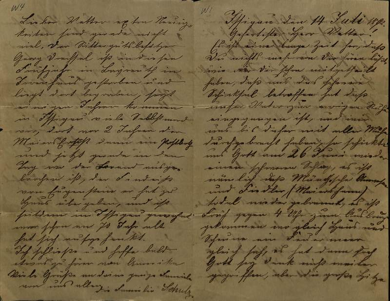 Schulz family letter, July 14, 1892, page 1 [right-hand] and page 4 [left-hand]