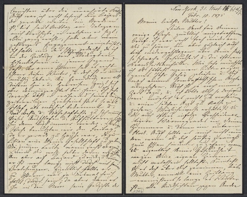 Marie Taylor to Lina Hansen, February 10, 1875