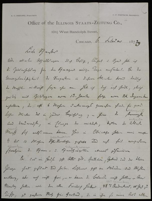 Hermann Raster to Sophie Raster, February 6, 1873