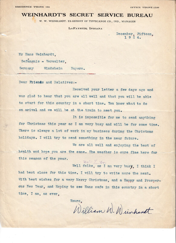 William W. Weinhardt to John V. Weinhardt, December 15, 1924