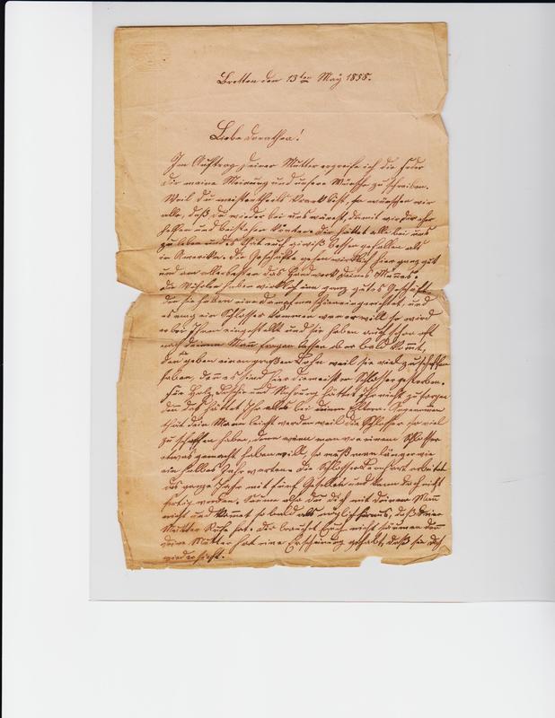 Gottfried Handel to Dorothea Schuhmacher, May 13, 1858