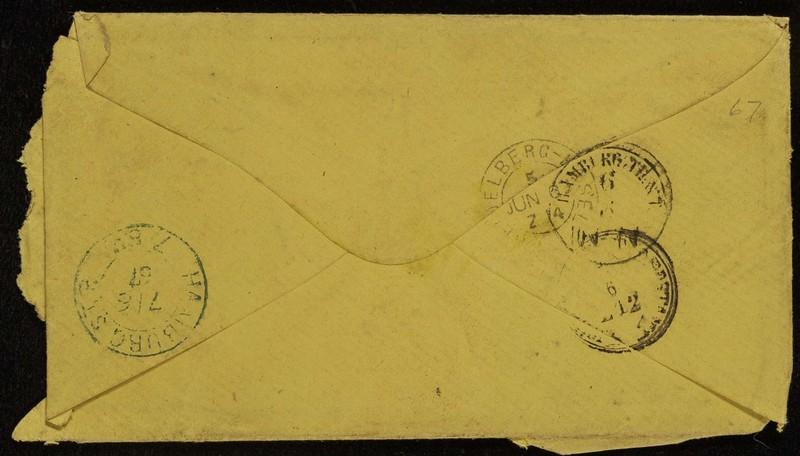 Höfeln family letter, June 5, 1867, envelope (back)