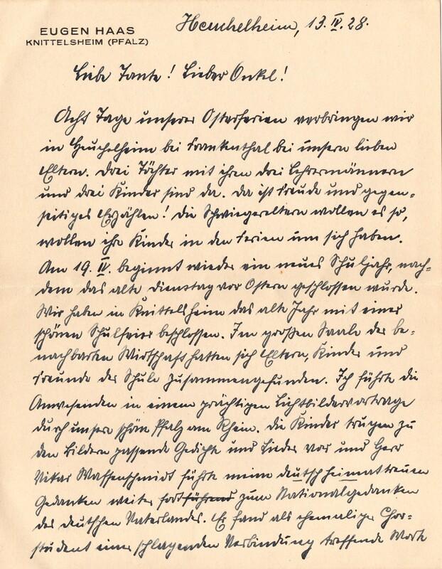 Eugen Haas to Eugen Klee, April 13, 1928, p. 1