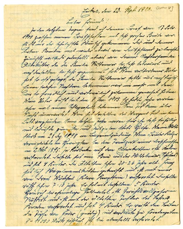 Joseph Altekoester to Joseph Rustemeyer, September 23, 1920, page 1