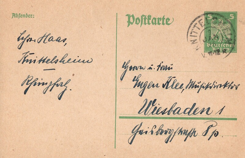 Eugen Haas to Eugen Klee, January 9, 1926