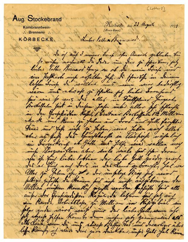 August Stockebrand to Bernard Rustemeyer, August 23, 1923