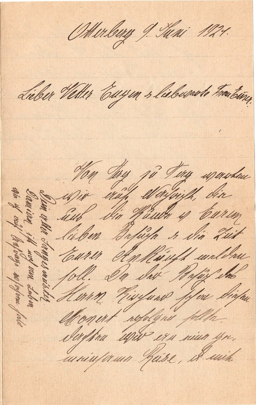 Mathilde Rettig to Eugen Klee, June 9, 1921