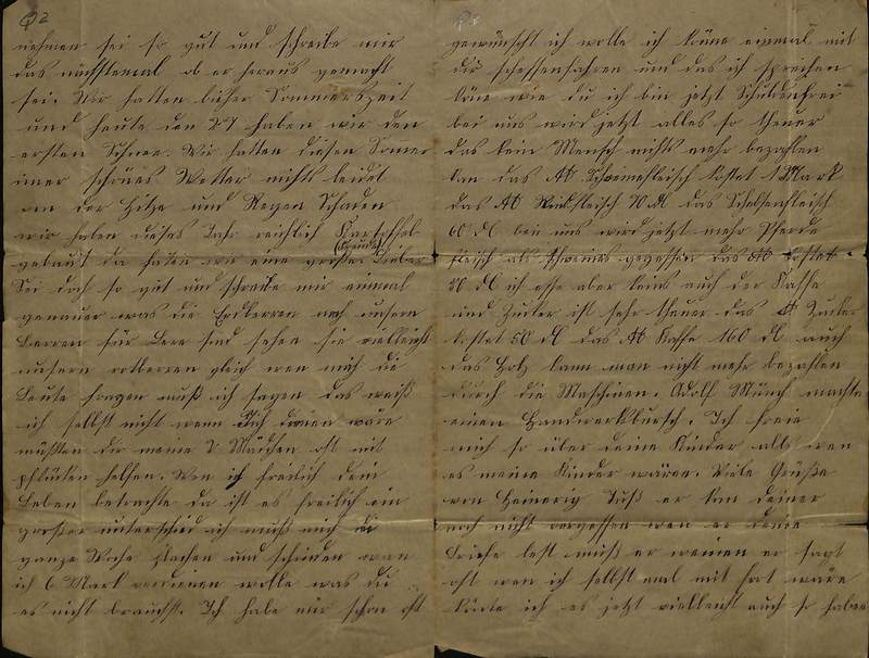 Schulz family letter, Nov. 27, 1889, page 2 [left-hand] and page 3 [right-hand]