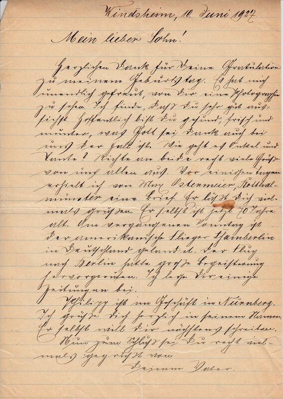 Johann P. Weinhardt to John V. Weinhardt, June 10, 1927