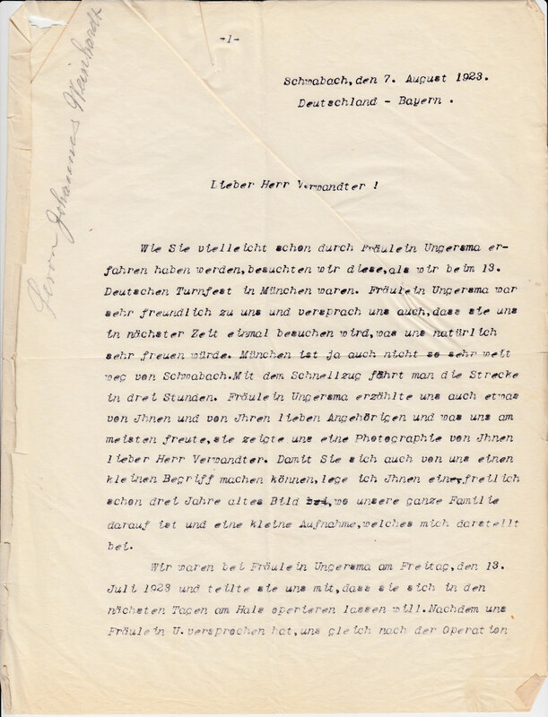 John V. Weinhardt to William W. Weinhardt, August 7, 1923