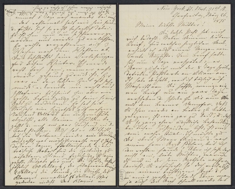 Marie Taylor to Lina Hansen, March 26, 1875