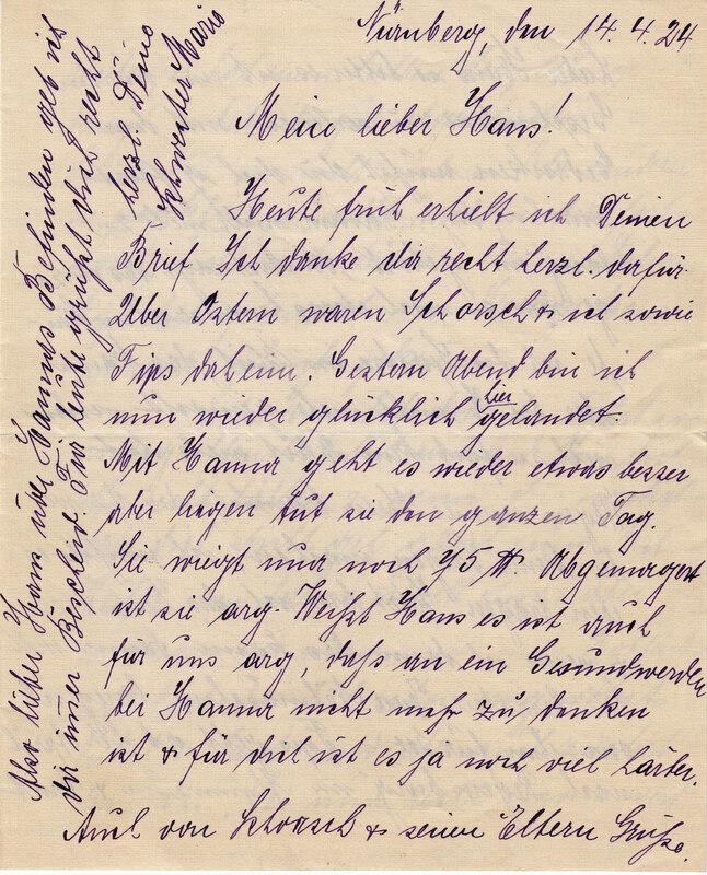 Marie Weinhardt to John V. Weinhardt, April 14, 1925