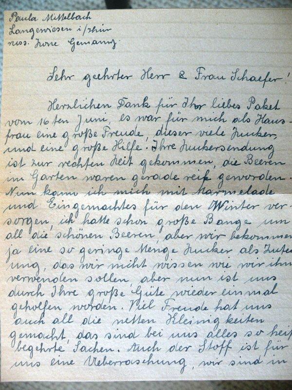 Paula Mittelbach to Frank Schaefer and Anna Schaefer, July 28, 1948