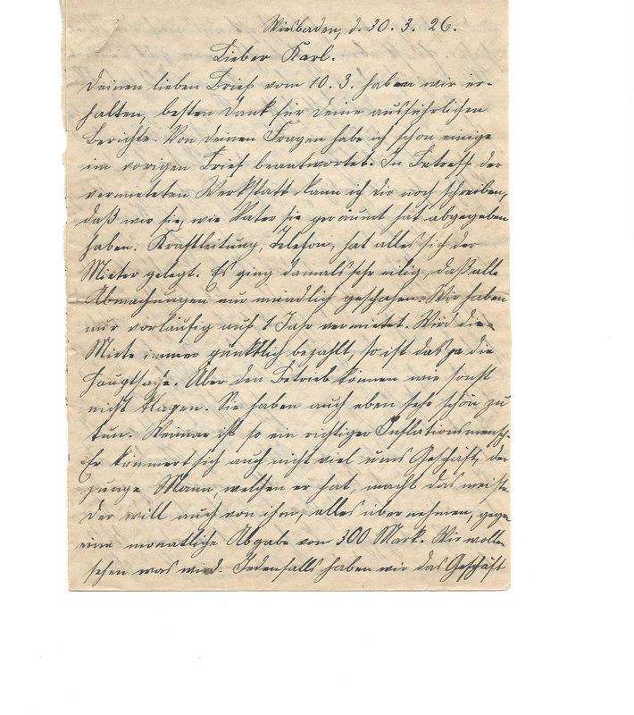 Wilhelm Emmel to Karl Emmel, March 30, 1926