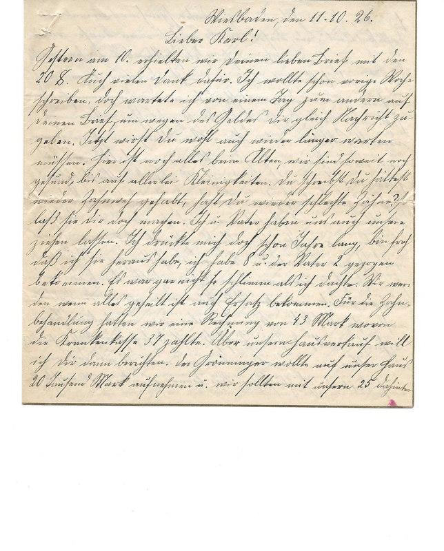 Caroline Emmel to Karl Emmel, October 11, 1926, p. 1