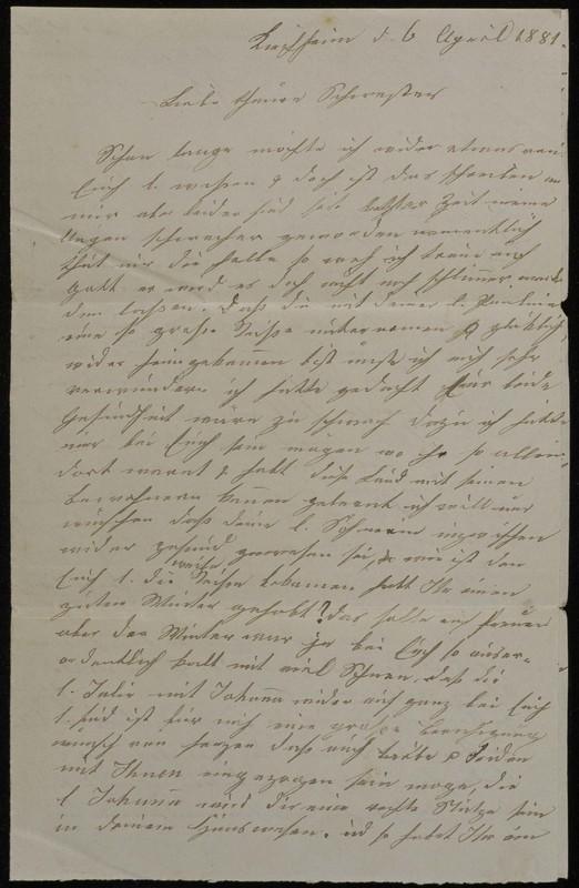 Babette Tritschler to Charlotte von Höfeln, April 6, 1881