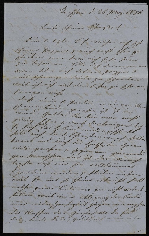 Höfeln family letter, March 26, 1876