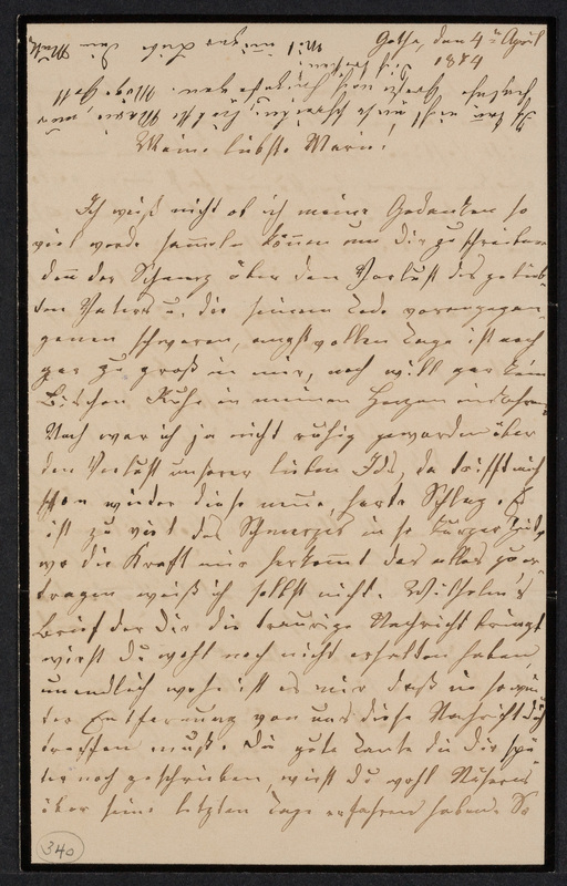 Lina Hansen to Marie Taylor, April 4, 1874