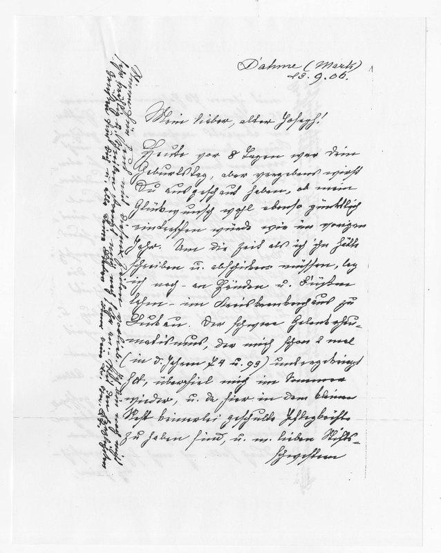 Benecke family letter, September 23, 1906