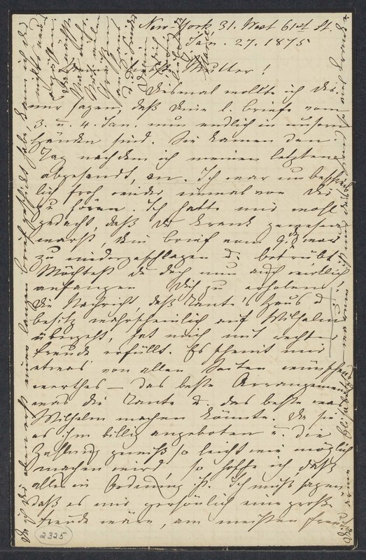 Marie Taylor to Lina Hansen, January 27, 1875