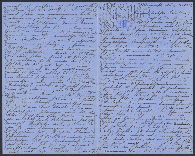 Marie Taylor to Lina Hansen, March 18, 1872