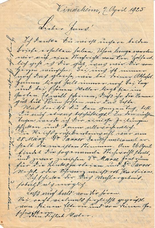 Weinhardt family letter, April 7, 1925, p. 1