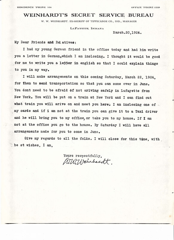 William W. Weinhardt to John V. Weinhardt, March 20, 1924