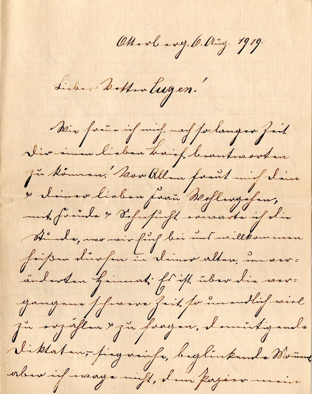 Lenchen Berdel to Eugen Klee, August 6, 1919