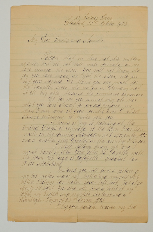 John V. Weinhardt to William W. Weinhardt, October 25, 1923
