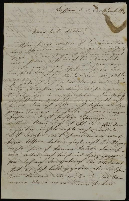 Höfeln family letter, 1872
