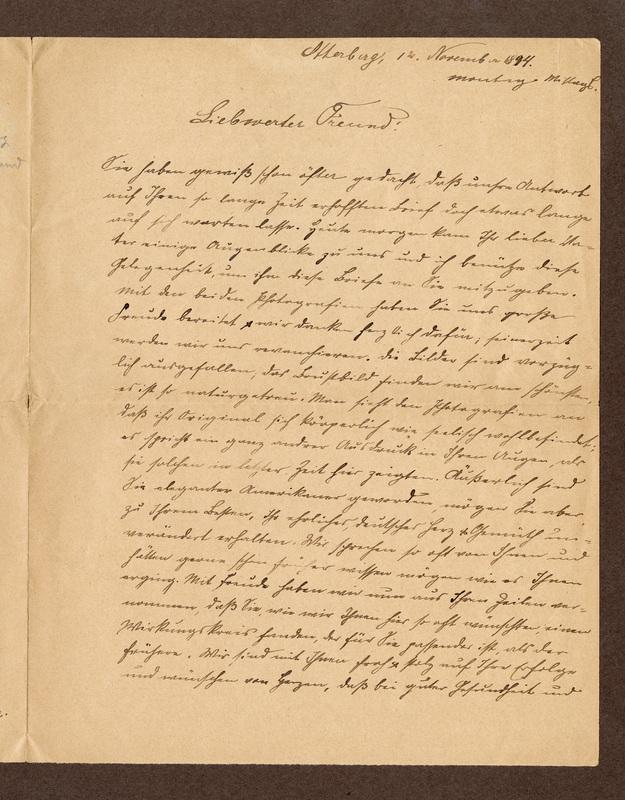Klee family letter, November 12, 1894
