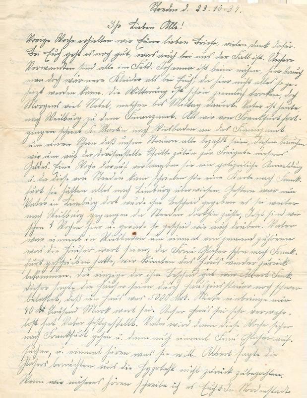 Caroline Emmel to Karl Emmel, October 23, 1937