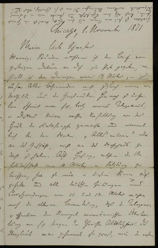 Hermann Raster to Sophie Raster, November 1, 1871