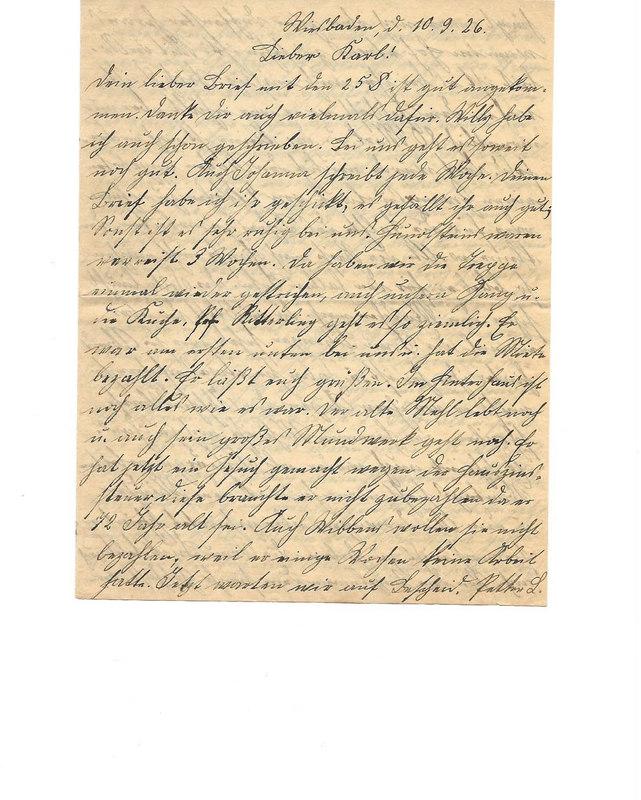 Caroline Emmel to Karl Emmel, September 10, 1926, p. 1