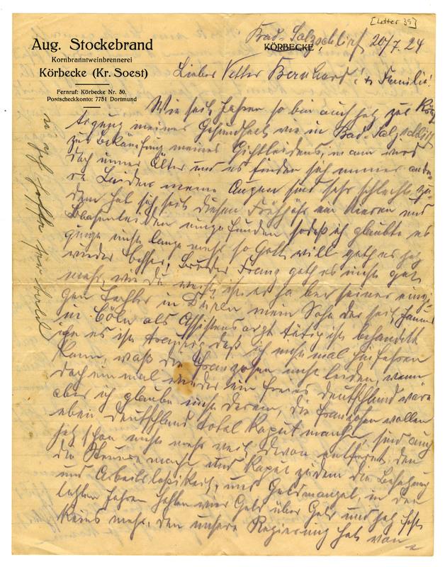 August Stockebrand to Bernard Rustemeyer, July 20, 1924