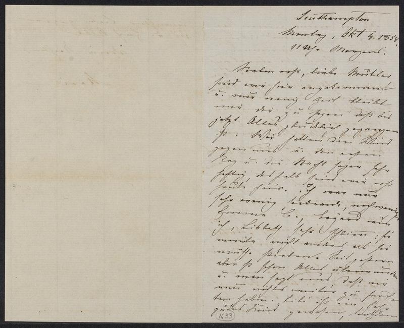 Marie Hansen Taylor to Lina Hansen, October 4, 1858, p. 1