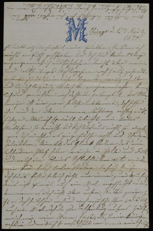 Margarethe Raster and Hermann Raster to Anna Oppenheim, May 13, 1870