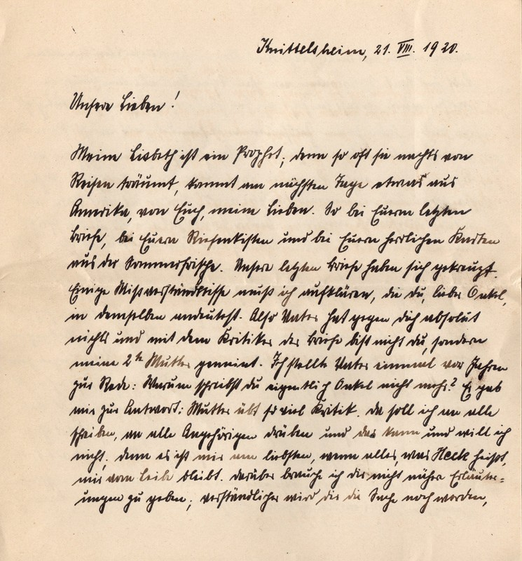 Eugen and Lisbeth Haas to Eugen Klee, August 21, 1920