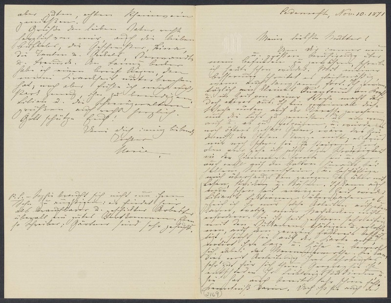 Marie Taylor to Lina Hansen, November 10, 1871