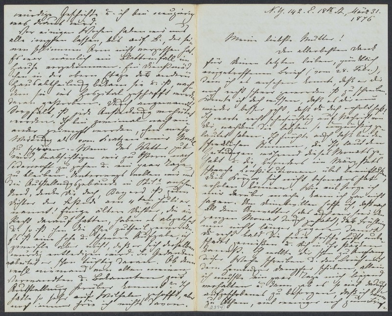 Marie Taylor to Lina Hansen, March 31, 1876