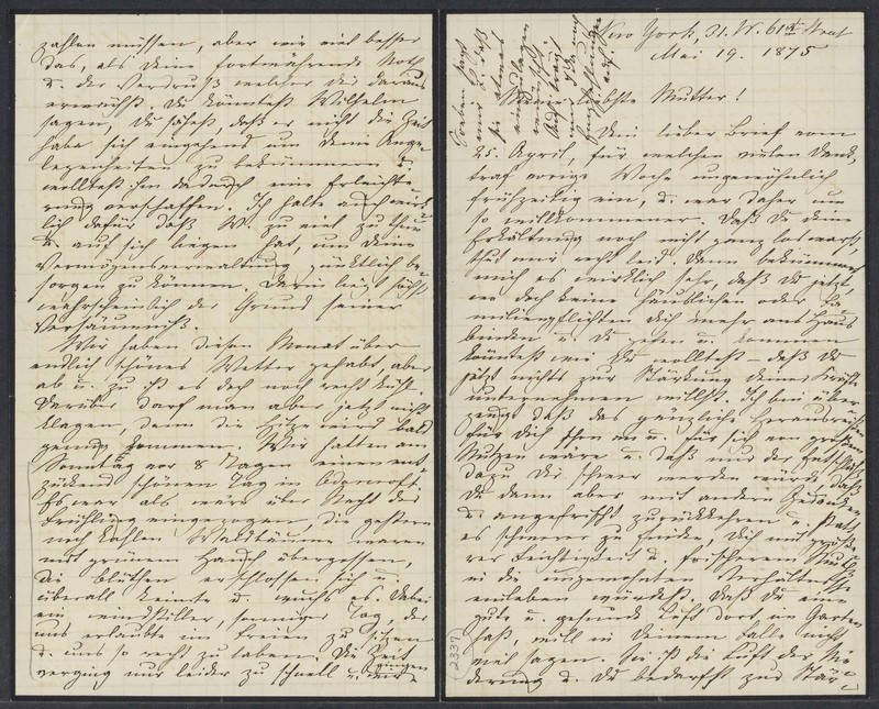 Marie Taylor to Lina Hansen, May 19, 1875