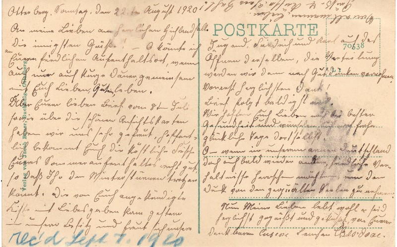 Mathilde Hoffmann to Eugen Klee, August 22, 1920, p. 2