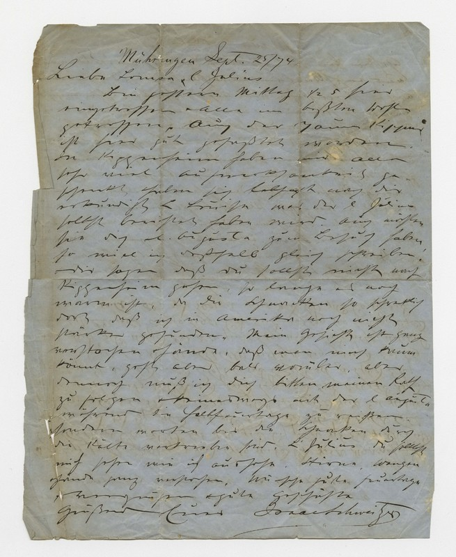 Schweitzer family letter, September 25, 1874