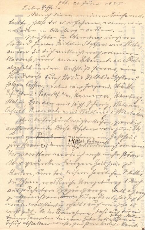 Eugen Klee to Eugen Haas, June 21, 1925, p. 1