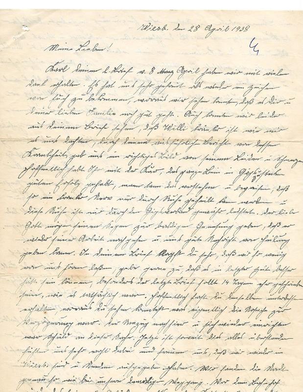Wilhelm Emmel and Caroline Emmel to Karl Emmel, April 28, 1938