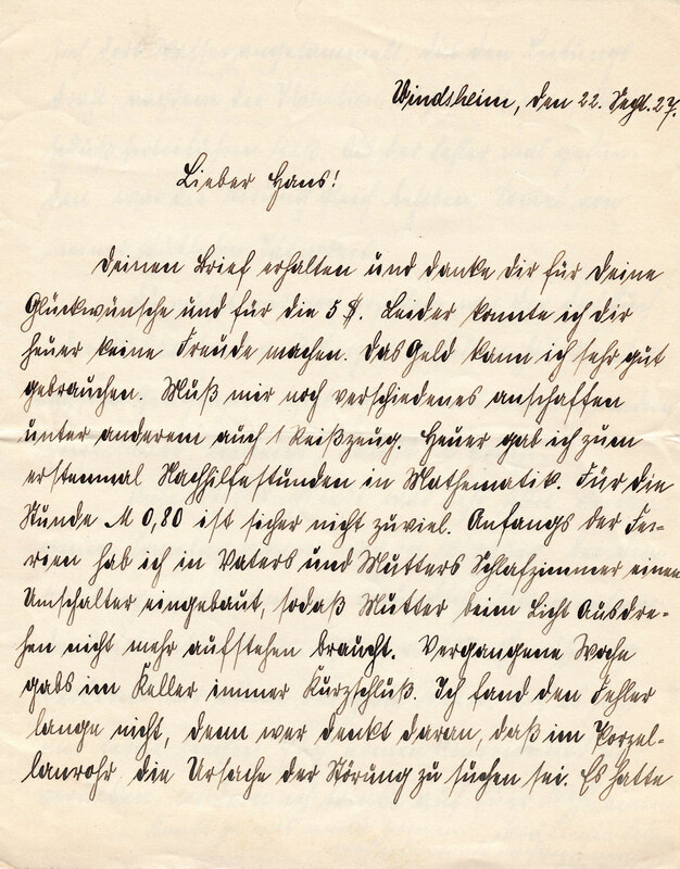 Philipp Weinhardt to John V. Weinhardt, September 22, 1927