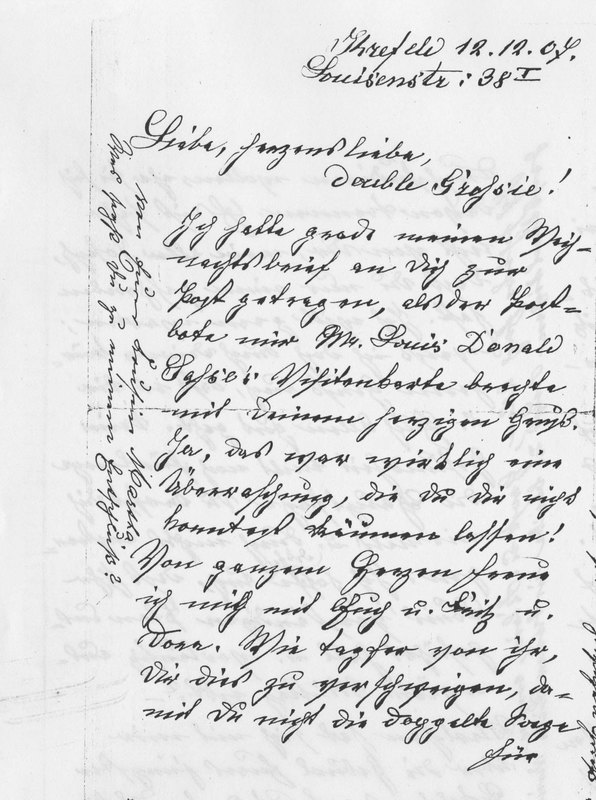 Benecke family letter, December 12, 1907, page 1