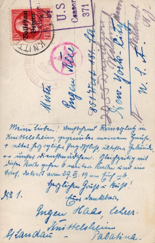 Eugen Haas to Eugen and Emma Klee, July 5, 1919, postcard #1 (back)