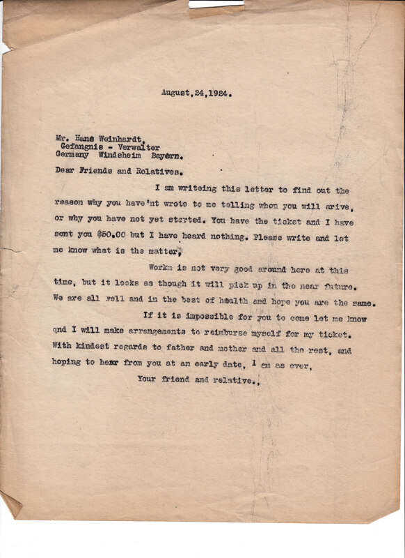 William W. Weinhardt to John V. Weinhardt, August 24, 1924